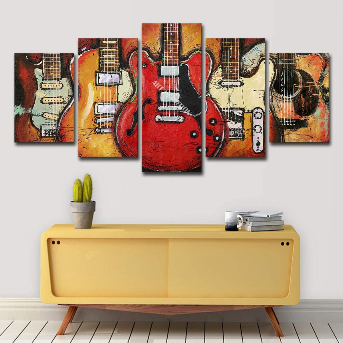 Amazon Com Study Room Music Room Abstract Guitar Comic Music 50cm Home Living Room Decoration Painting 5 Panel With Frame Can Be Directly Suspended Posters Prints