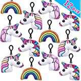 """Pawliss 12 Pack 2"""" Unicorn Plush Keychain Mini Pillows Backpack Clips, Emoji Birthday Party Favors Supplies for Kids Girls, Emoticon Toys Prizes Gifts"""