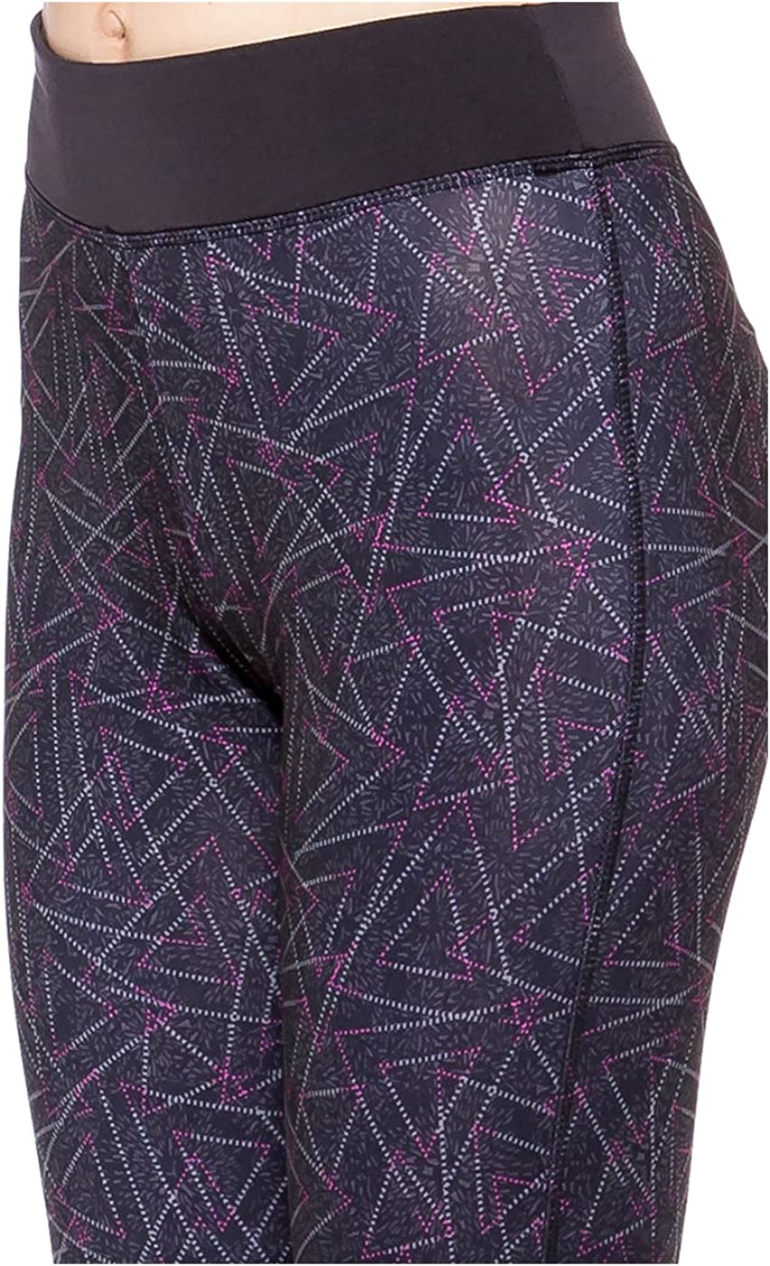 2LUV Womens Geo Print High Waisted Cropped Yoga Leggings Pink-Triangle L 21307