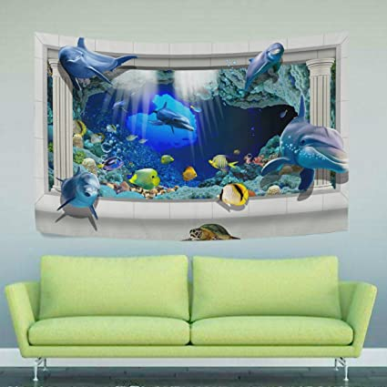 Amazon Com Wihve 3d Dolphin Ocean Fish Tapestry Yoga Mat Wall