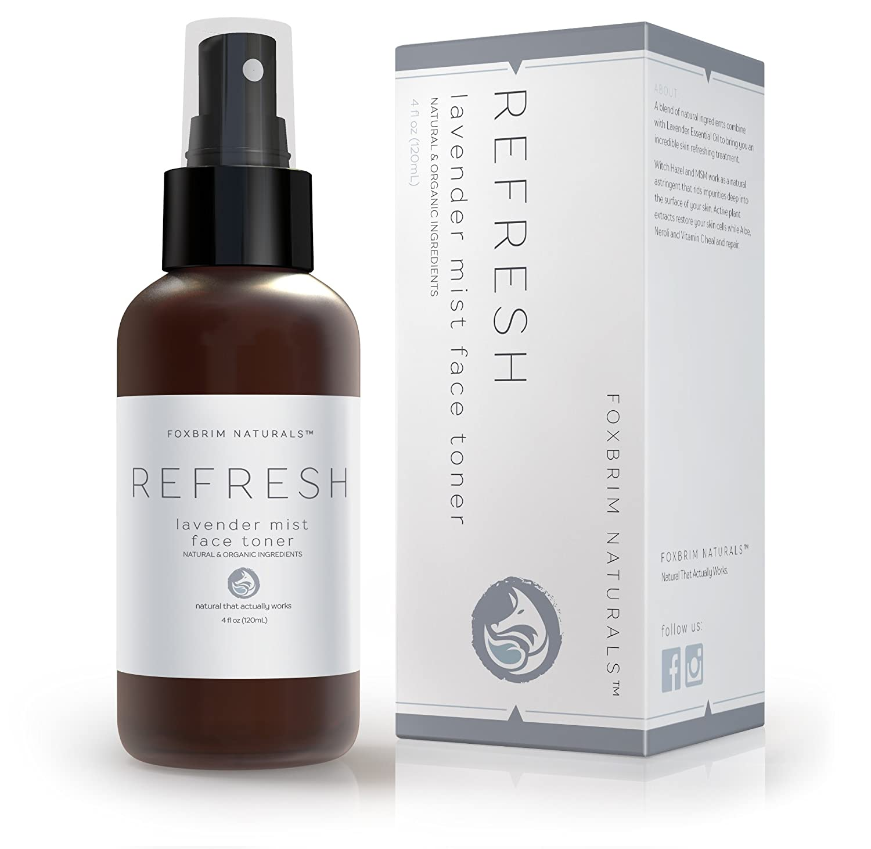 Lavender Mist Facial Toner - 100% Natural - Face Toner - Refresh & Revitalize - MSM, Aloe, Yucca, Spirulina, Gotu Kola & Vitamin C - Foxbrim Naturals 4OZ