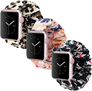 Scrunchie Watch Band Compatible with Apple Watch Bands 38mm 40mm 3 Pack, Soft Fashion Elastic Scrunchies Wristband Compatible for iWatch Series 6 5 4 3 2 1 (C3840)