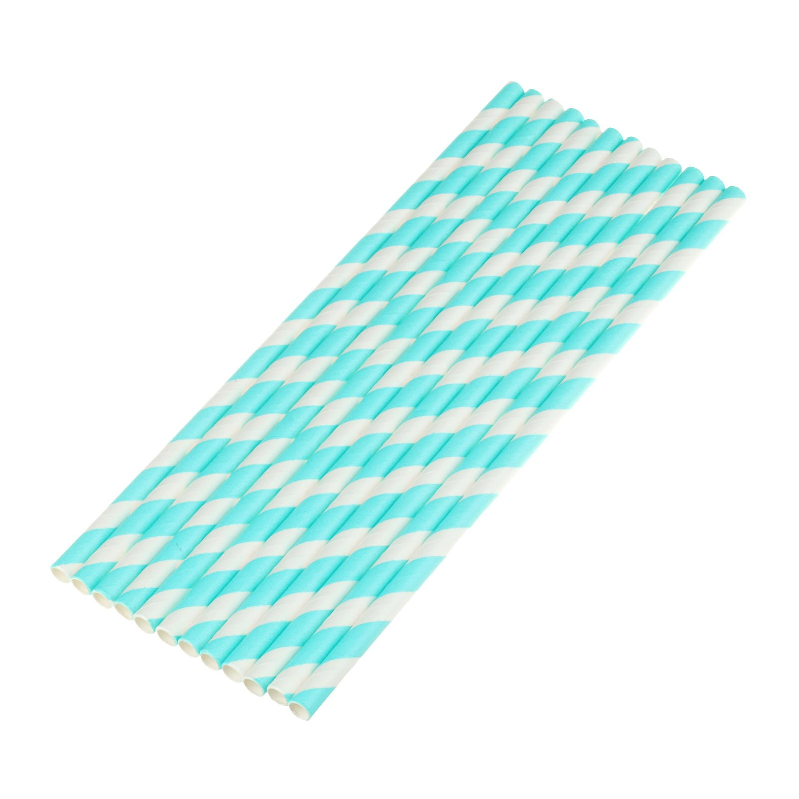 vLoveLife 25pcs Turquoise & White Biodegradable Paper Straws Striped Drinking Straws for Valentine's Day Wedding Birthday Party Celebrations Baby Shower Drinking Decoration Favors Supplies
