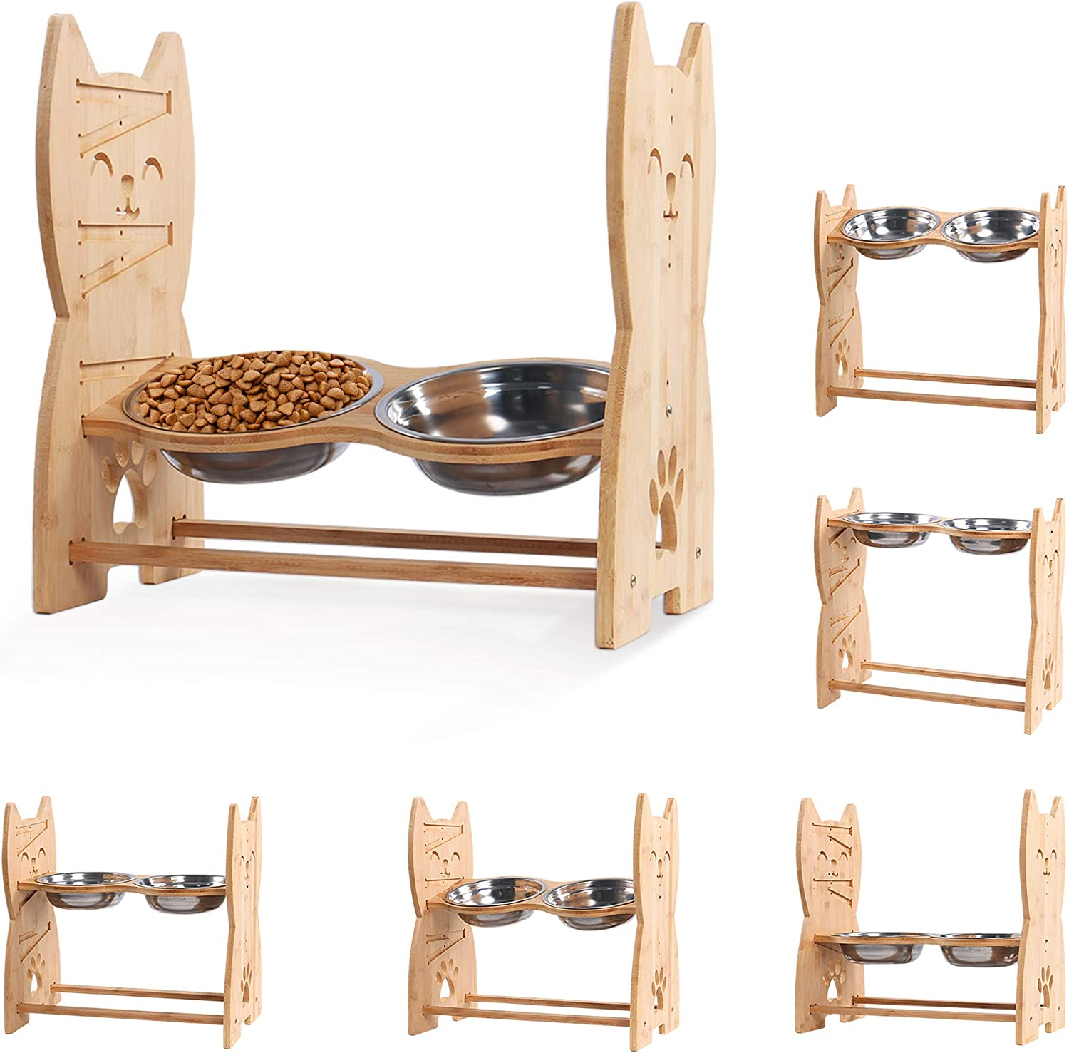 Niubya Dog Bowl with Elevated Stand, Bamboo Framed Raised Bowls for Cats and Small Dogs with Adjustable and Anti-Slip Legs, Include 2 Stainless Steel Bowls