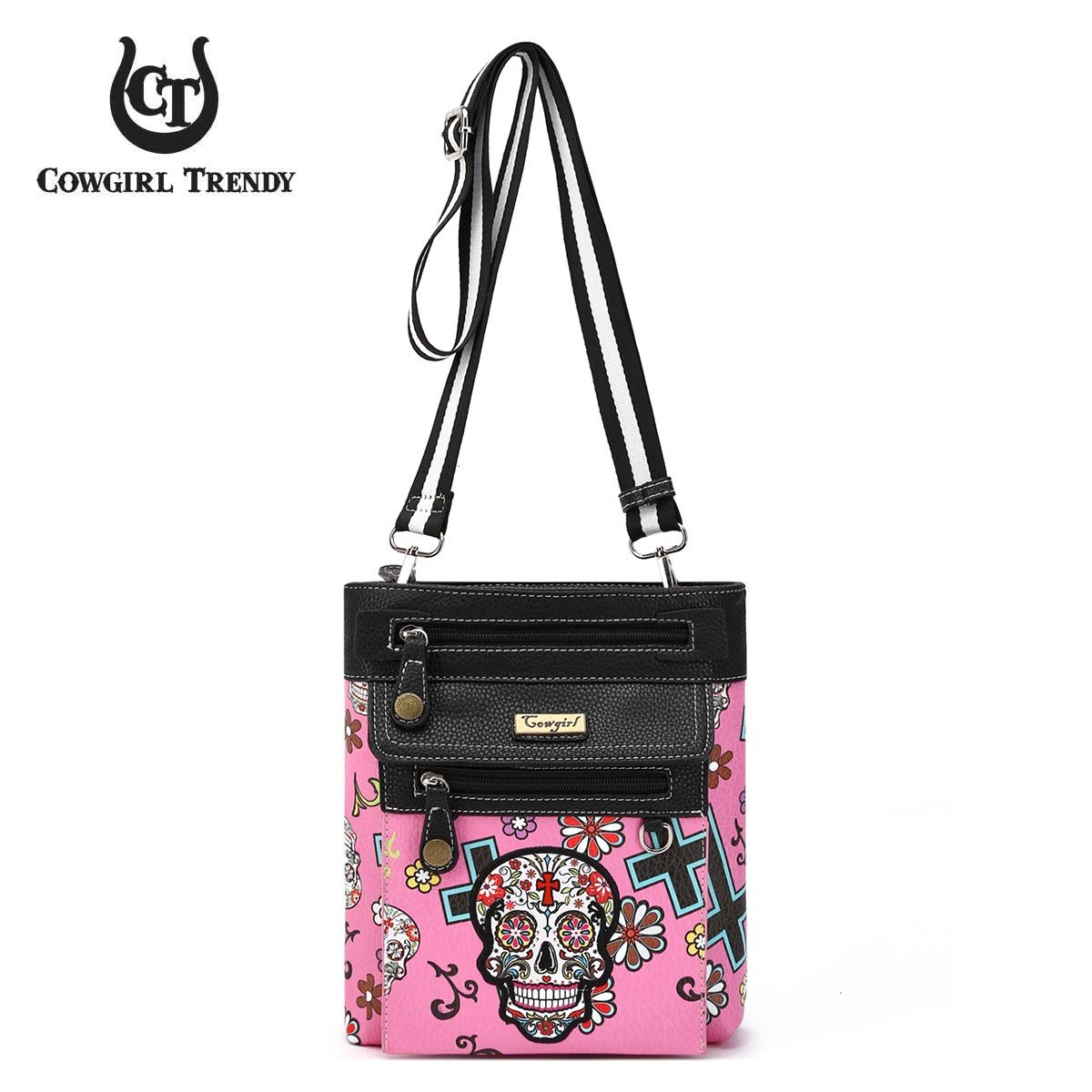 Day of The Dead Sugar Skull Print Crossbody Bag with Front Detachable Zipped Pouch