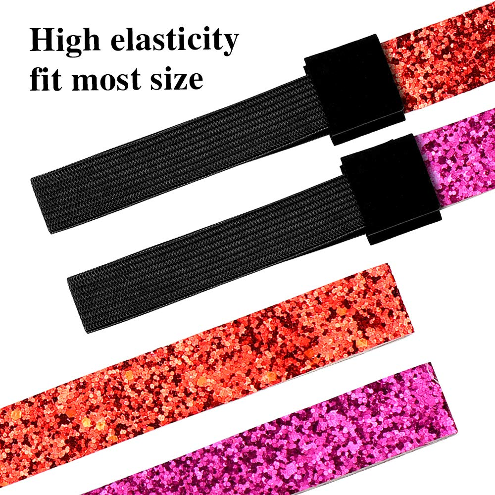 Homgaty Glitterata Fascia 12 Colori 12 pezzi Scintillante Fascia Elastica Capelli Fascia Paillettes Regolabile Copricapo Scintillanti Capelli Accessori per Donne e Ragazze