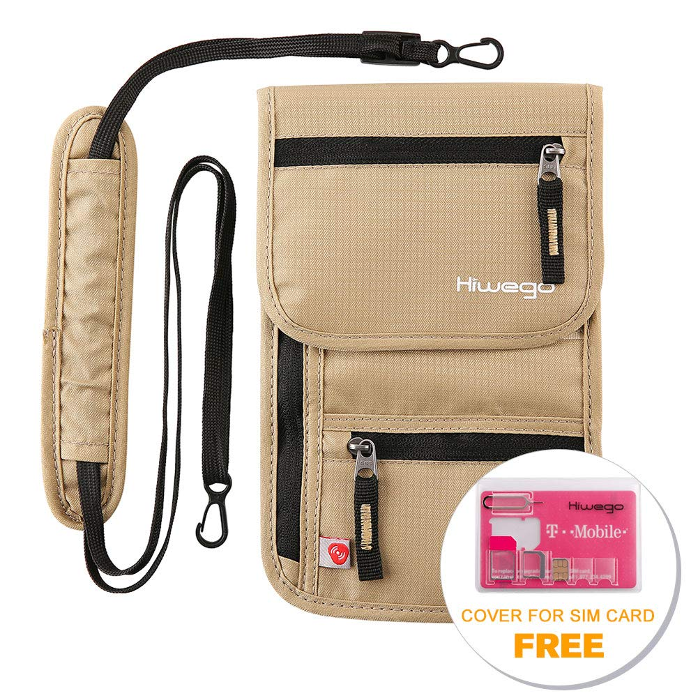 hiwego Travel Neck Pouch Hidden Passport Holder Wallet RFID Blocking/Neck Stash for Men Women (Khaki)
