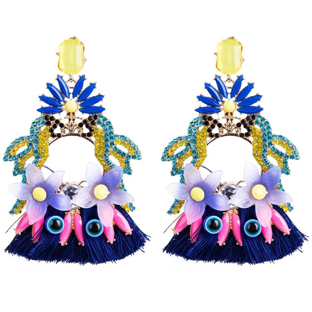 Achun Innovative Design Ohrringe Reinestone Papagei Quaste Ohrringe Mode Ohrstecker Geschenk für Frauen (Sky Blue)