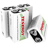 Tenergy 4 Pieces of 9V 200mAh Low Self-Discharge NiMH Rechargeable Batteries