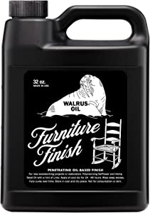 WALRUS OIL - Furniture Finish, Polymerizing Safflower Oil and Hemp Seed Oil - for Hardwood Tables, Chairs, and More. 100% Vegan, 32oz Jug