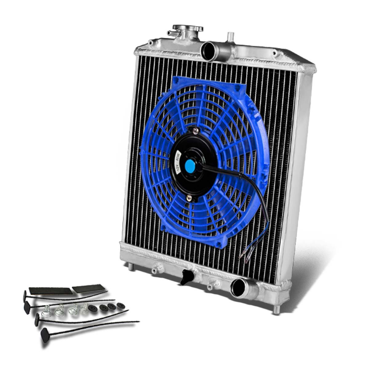 2-Row Dual Core 42mm Racing Radiator+12 inches Black Fan For Civic//Del Sol//Integra Manual Transmission