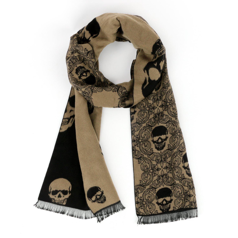 Landisun Scarf Shawl Skull Men's Winter Warm Long Soft Elegant Classical Tassels (Camel Color Black)