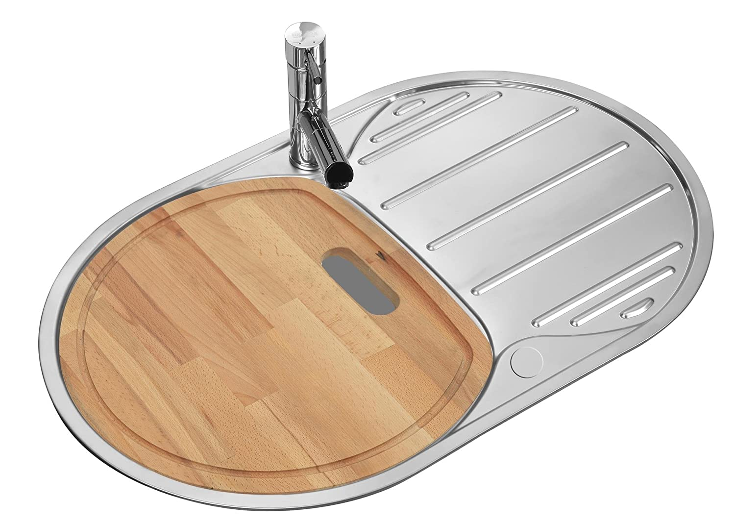Polished Inset Round Stainless Steel Kitchen Sink & Drainer with chopping board (LA002) Grand Taps