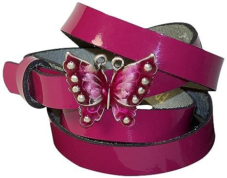 9616f81657fe Fronhofer Ceinture pour femme cuir laqué noir, rose boucle papillon 1,5 cm  ceinture