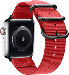 Misker Nylon Band Compatible with Apple Watch Band 44mm 42mm 40mm 38mm, Lightweight Breathable Sport Wrist Strap with Metal Buckle Compatible with iwatch Series 5/4/3/2/1 (Bright red, 42mm/44mm)
