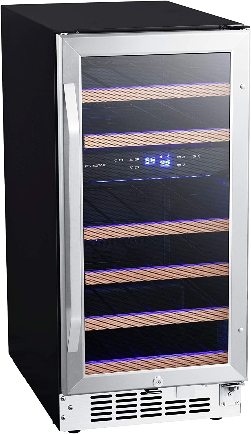 EdgeStar CWR263DZ 15 Inch Wide 26 Bottle Built-In Wine Cooler with Dual Cooling Zones