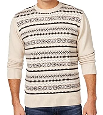Weatherproof Mens Medium Crewneck Fair Isle Sweater Beige M at ...