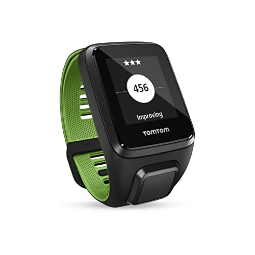 TomTom Runner 3 GPS Running Watch with Heart Rate Monitor, Music and Bluetooth Headphones - Large Strap, Black/Green