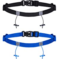 Jovitec 2 Pieces Race Number Belt with 6 Gel Loops for Running Cycling Triathlon Marathon, 2 Colors