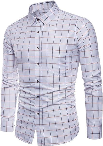 VPASS Hombre Camisas, Manga Larga Camisas Formales Casual Color Sólido Negocios Camisa a Cuadros Camisa de Moda Slim Fit Long Sleeve Blusa Tops Botón Shirt básica: Amazon.es: Ropa y accesorios