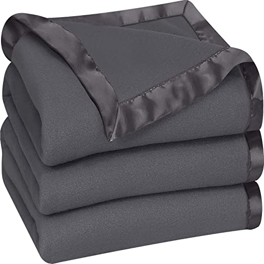 Extra Soft Brushed Microfiber Twin, Grey Polar Fleece Premium Bed Blanket with Sateen Ribbon Edges