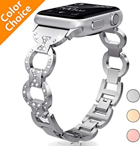 HiGoing Bling Band Compatible with Apple Watch Band 38mm 40mm, Diamond Rhinestone Stainless Steel Metal Replacement Wristband Strap iWatch Series 4 3 2 1 (Silver)
