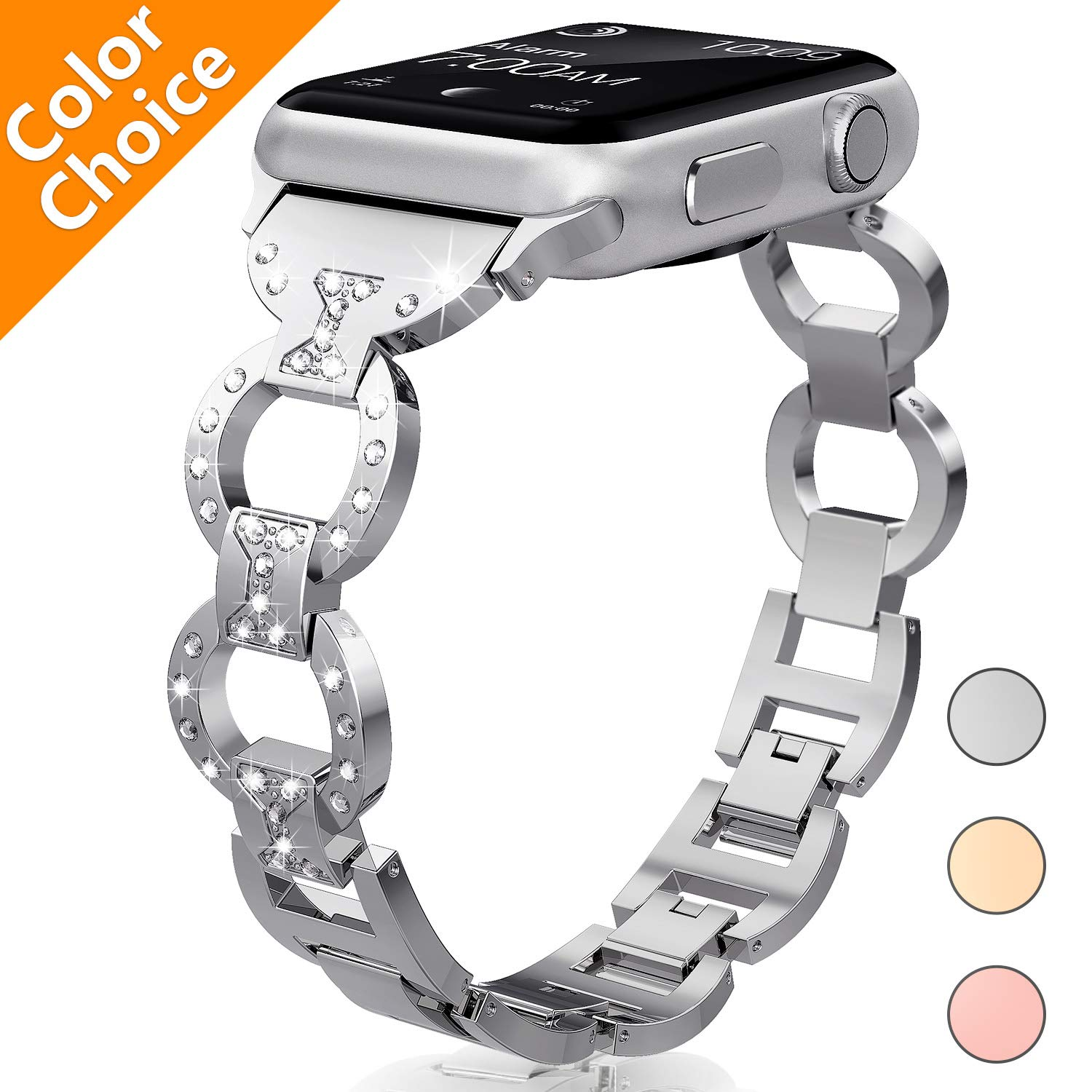 Diamond Rhinestone Stainless Steel Metal Replacement Wristband Strap iWatch