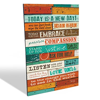 Inspirational Quotes Wall Art Today Is A New Day 12 X 16 Inch Wood