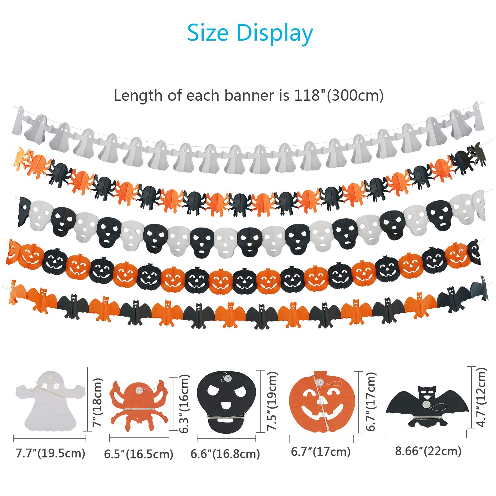 KATOOM Halloween Decoration Banner 5 Pcs Halloween Party Banners Trick or Treat Garland Pumpkin Bat Spooky Pennants Spiders Ghost Set for Halloween Theme Party Photo Props Wall Decoration Supplies