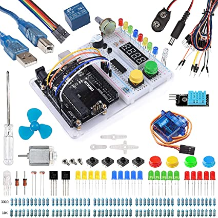 Smraza Ultimate Starter Kit with Tutorial, Breadboard Holder, Jumper Wires,  Resistors, LED, DC Motor for Arduino Uno R3 Project Mega 2560 Nano