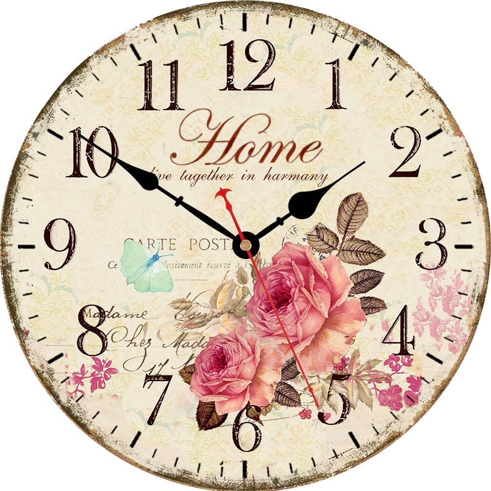 VIKMARI 14 Inch Wooden Wall Clock Art Hanging Clocks Silent Non-Ticking Wall Clock Battery Operated Round Home Flowers Style Arabic Numeral Decorative Wall Clocks