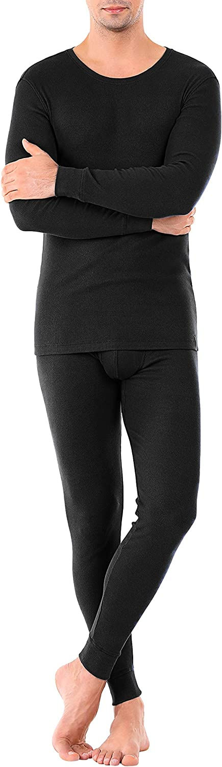 DAVID ARCHY Mens Ultra Soft Warm Cotton Fleece Lined Base Layer Top /& Bottom Thermal Set Long John with Fly