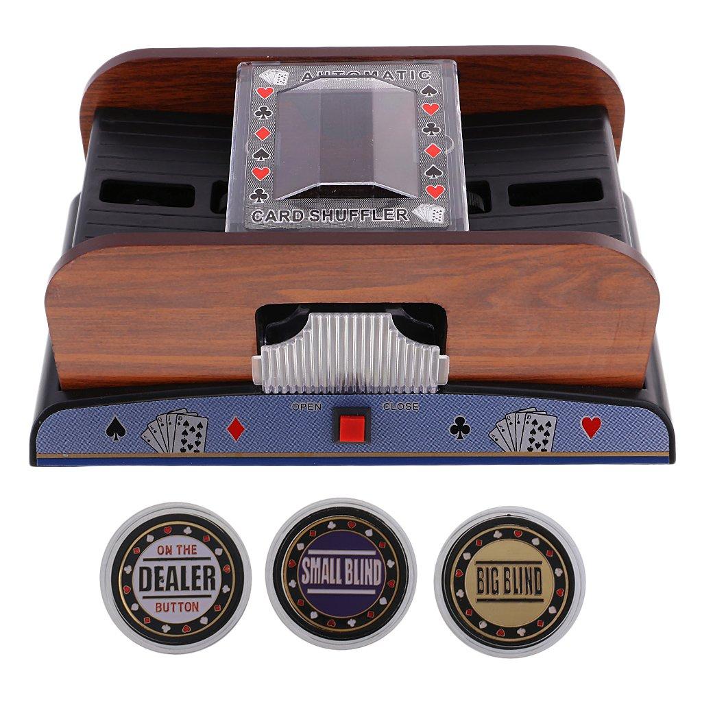 Baoblaze Elektrischer Kartenmischer für Pokern Automatischer Pokerkarten + Poker Dealer Set