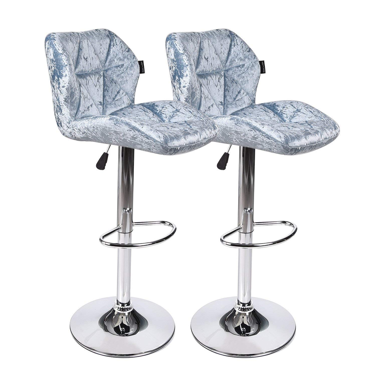 Counter Bar Stools Modern Design Swivel Chair with Velvet Surface Hydraulic Gas Lift for Bars and High Counters, Dining, Kitchen (Set of 2 Blue Barstool)