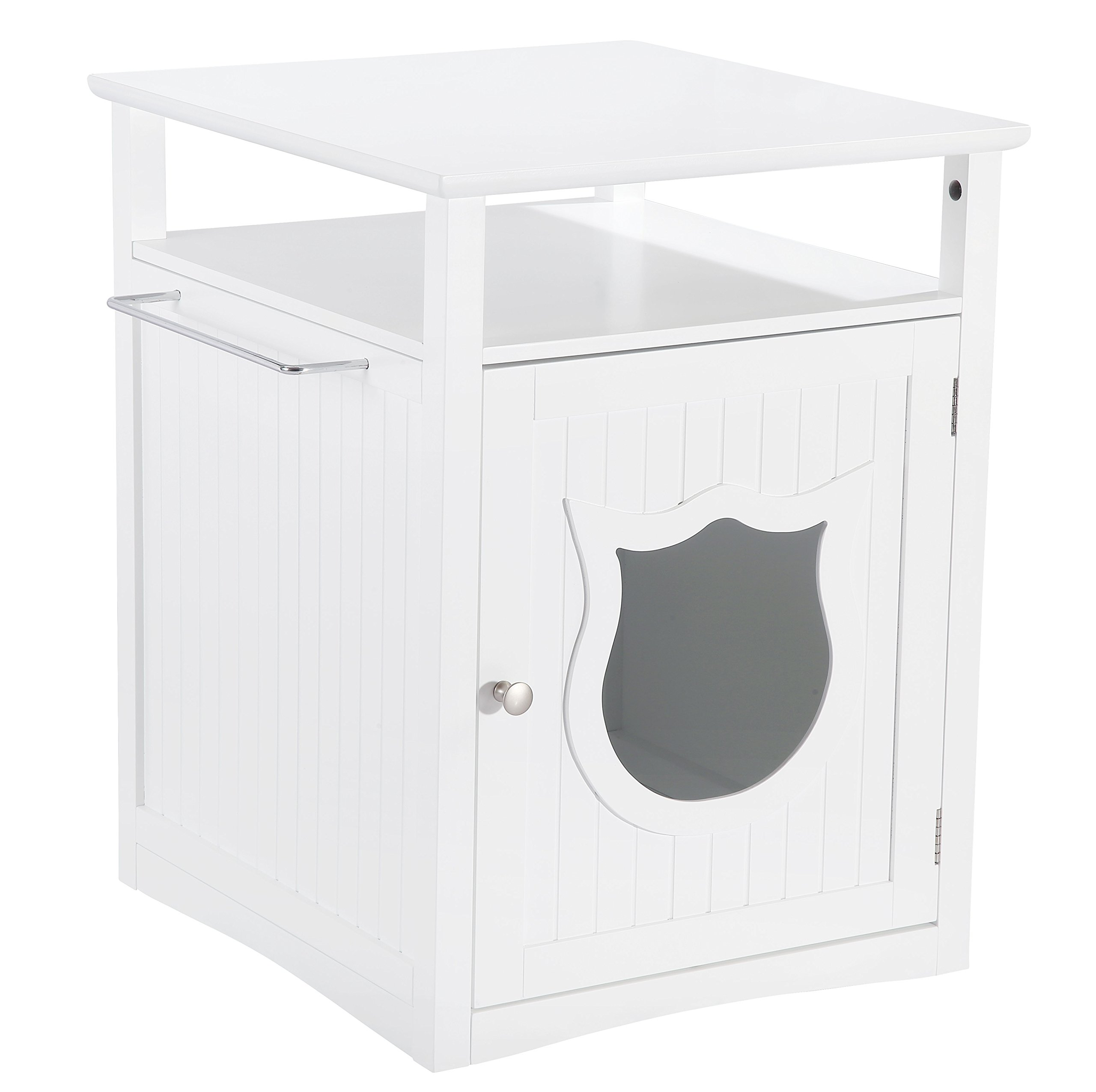 Pet Hup Hup Kitty Cat Thunder Box Pet House and Litter Box Comfort Room with Night Stand, White