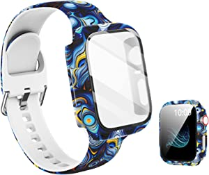 Compatible with Apple Watch Band 44mm with Screen Protector Case, Women Girl Men Pattern Printed Glass Screen Protector and Replacement Silicon Wristband Strap for iwatch Series 6 5 4 Se Accessories