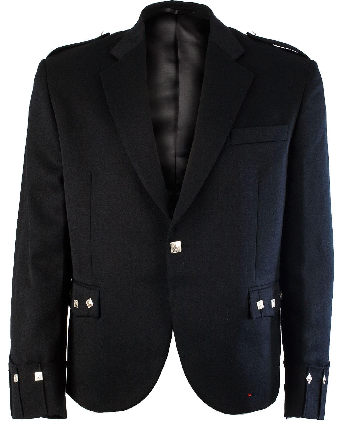 Argyll Kilt Jacket Comfortable Pure Barathea Wool Chrome Buttons Size 54inch - 137cm Short