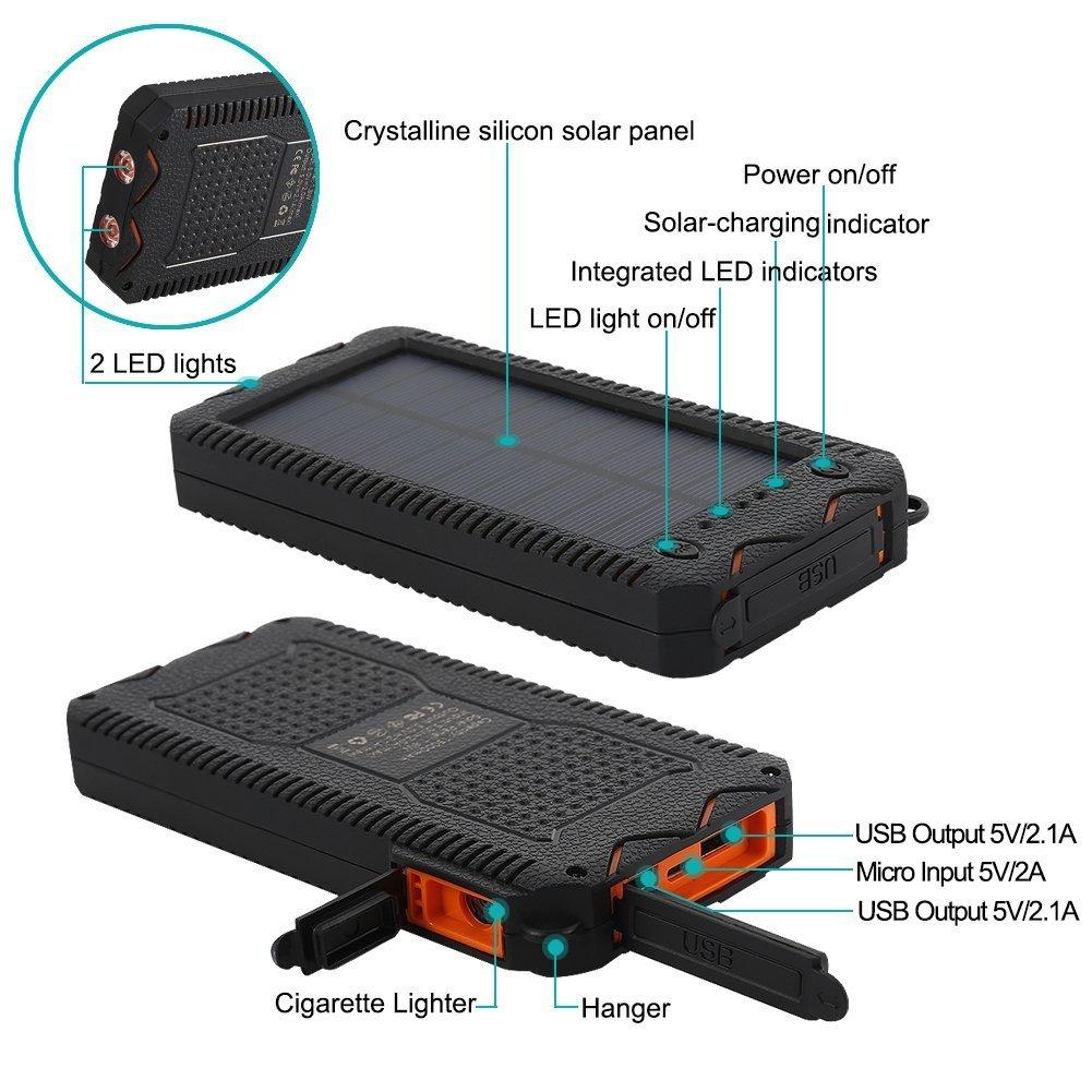 Amazon.com: Cargador solar, batería de respaldo externa, con ...