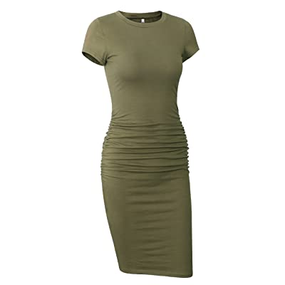 Missufe Women's Short Sleeve Ruched Casual Sundress Midi Bodycon T Shirt Dress at Women's Clothing store