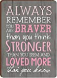 Always Remember You Are Braver Breast Cancer Awareness Wood Magnet