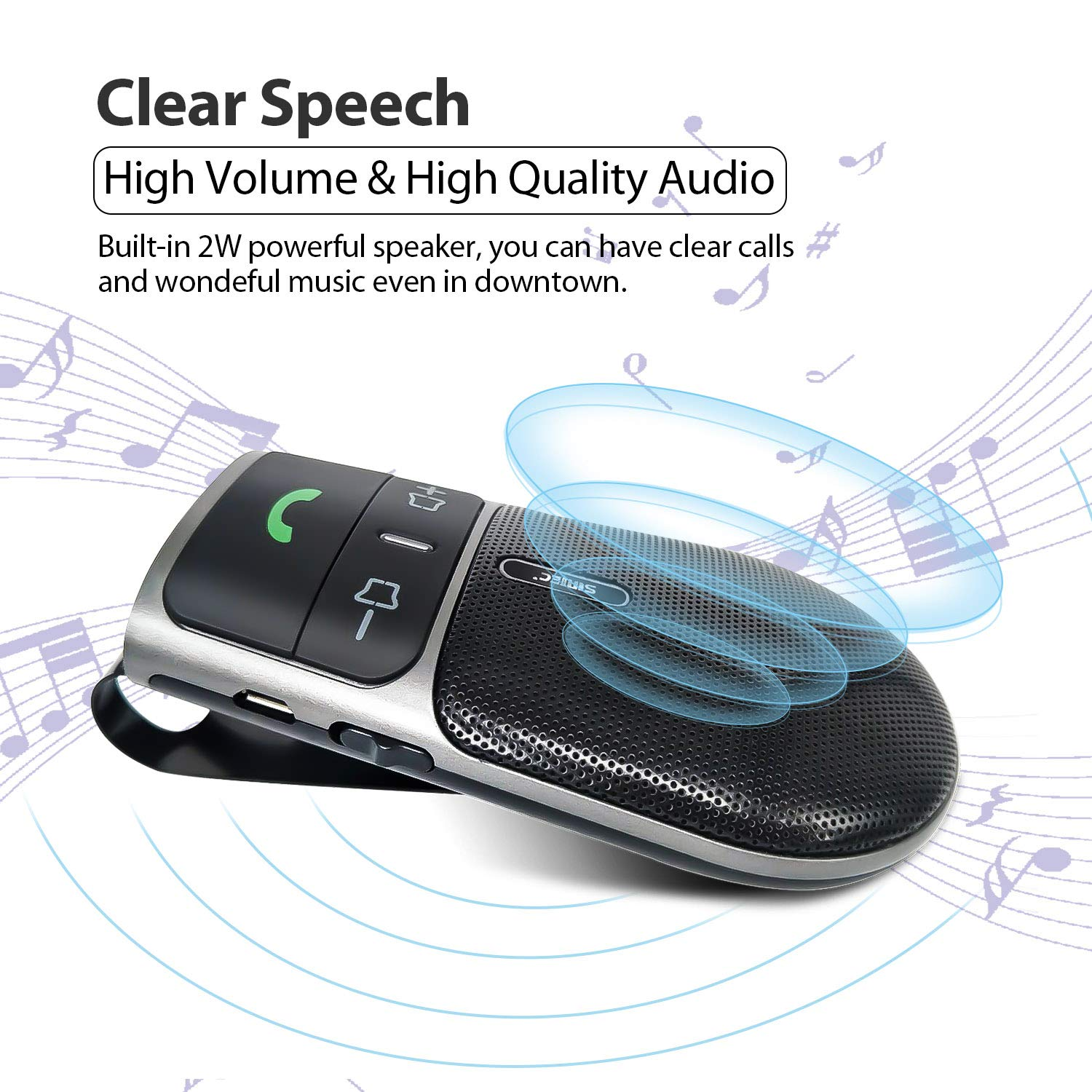 2019 SUNITEC BC920 Bluetooth Hands Free Car Kit, Connects with Siri & Google Assistant, Auto On Off, Handsfree Speakerphone Wireless in Car, 2W Powerful Speaker, Dual Link Connectivity & Visor Clip by Sunitec (Image #3)