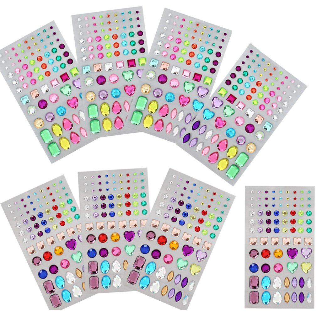 Amariver Self-Adhesive Rhinestone Sticker, Multi-Color Bling Craft Jewelrys Crystal Gems Stickers, Assorted Size and Multi-Shapes, 8 Sheets