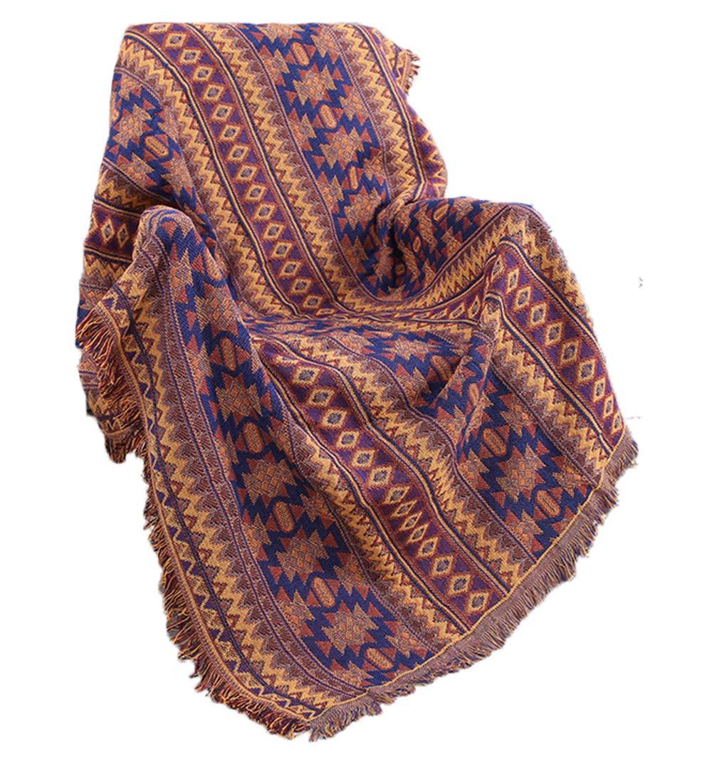 GAOWF Cotton Blanket Dreischichtige Verdicken Doppelseitige Linie DIY Decken Tuch Stuhl TV Blanket - Full Cover Anti-Rutsch-Sofa Handtuch Matte Weben Bettwäsche - Bunte Stammes-Muster,230  250Cm