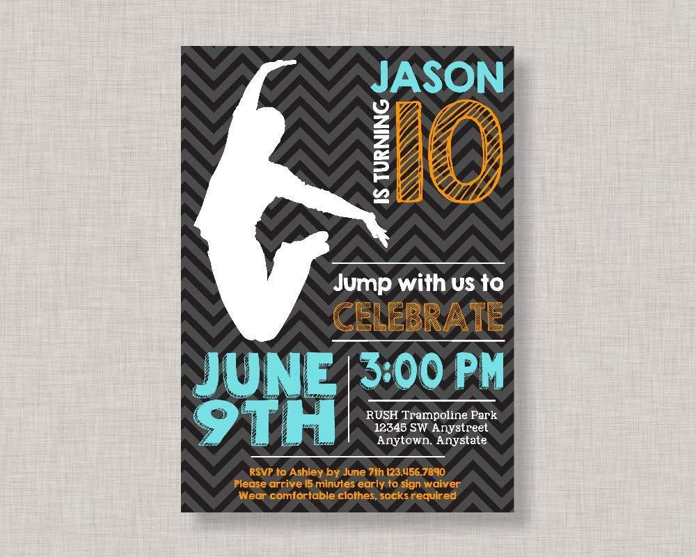 Olga212Patrick Trampoline Party Invitation Birthday Invite PartyJump Jump