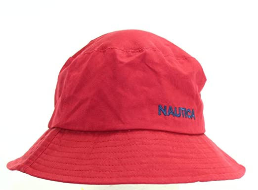8a2a17020cb Image Unavailable. Nautica Red Classic Cotton Men s One Size Signature Logo  Bucket Hat
