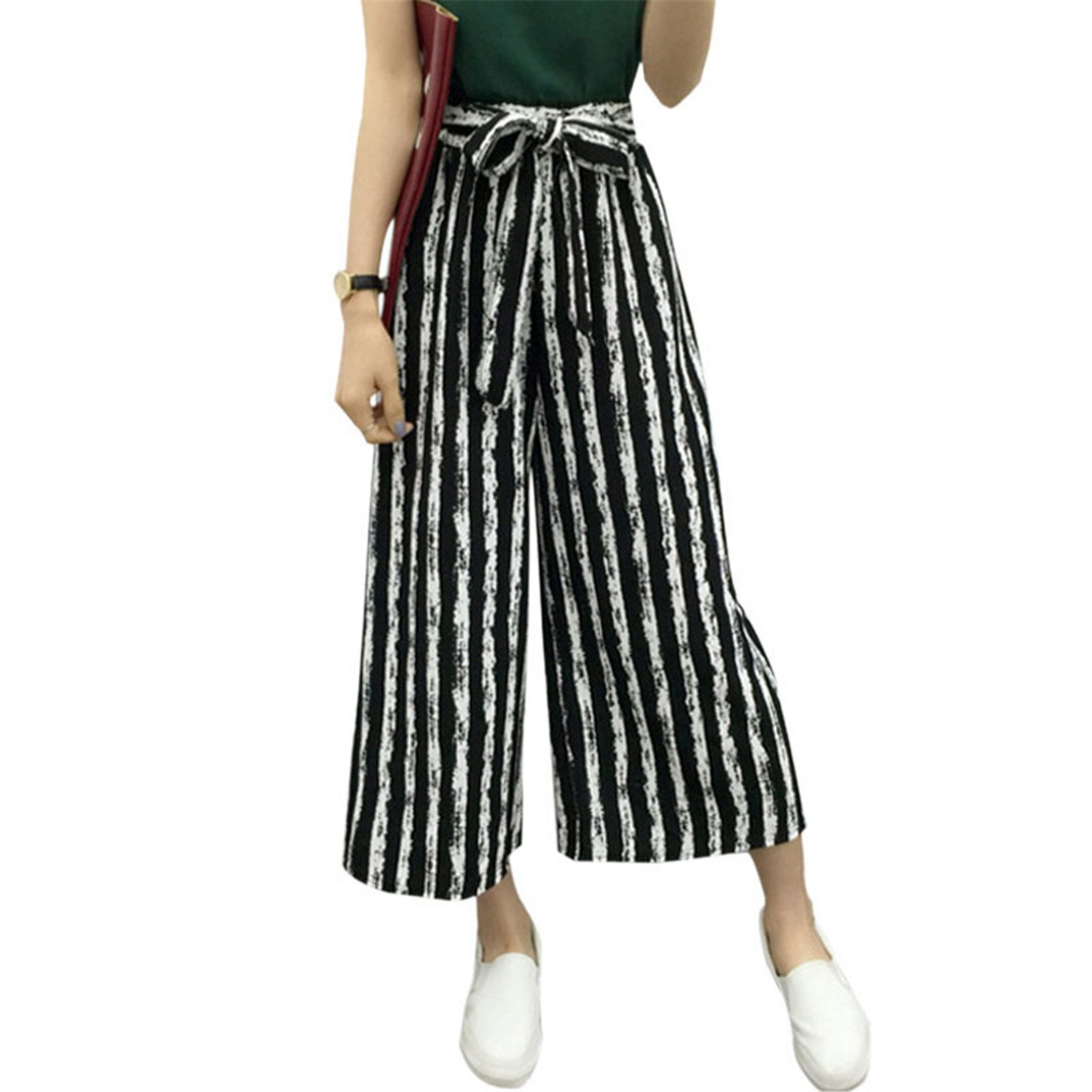 Fashion Summer Hot Selling Ladies Office Trousers Loose Wide Leg Pants Woman High Waist OL Casual Office Pants for Women Fine Black Bars M by Rainlife pants (Image #2)