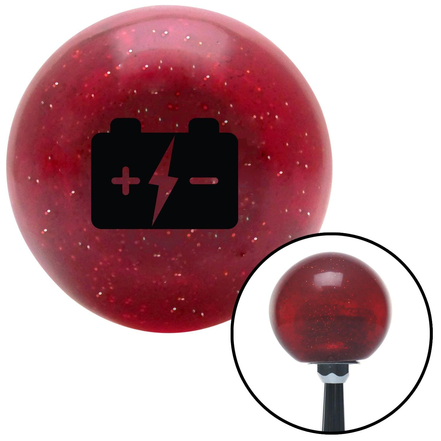 American Shifter 47575 Red Metal Flake Shift Knob with 16mm x 1.5 Insert Black Battery Charge Symbol
