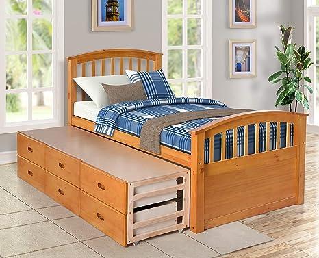 Cama doble de capitán con cama nido y cajones para niños invitados