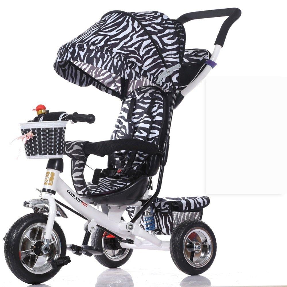 DACHUI niños sol envuelta, bebé bicicleta plegable del amortiguador, niños, baby triciclo carro (Color : Negro)
