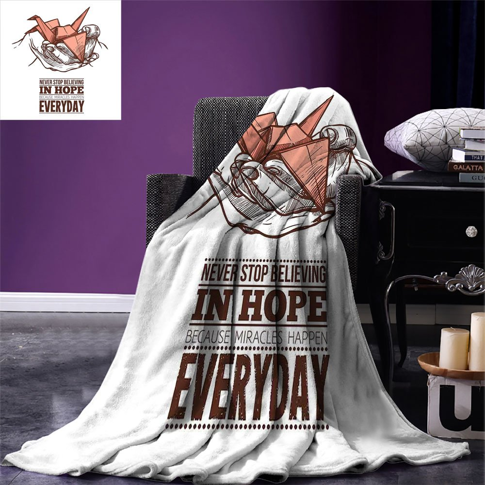 smallbeefly Hope Custom Design Cozy Flannel Blanket Hands Holding an Origami Crane with a Miracles Happen Everyday Quote Lightweight Blanket Extra Big Pale Orange Brown White by smallbeefly